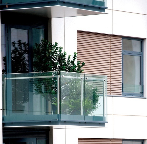 Railing on building balcony stainless steel wood or for Balcony with glass