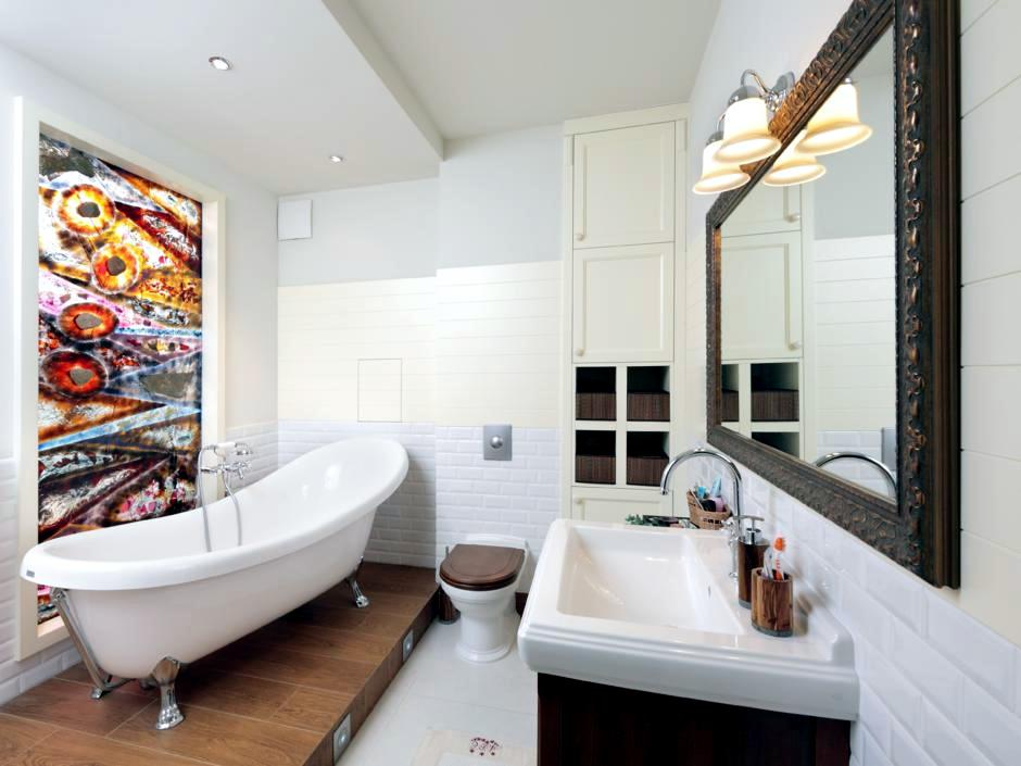 Stained Gl Window In Bathroom