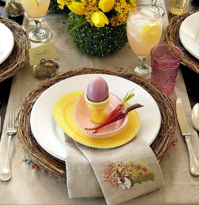 Make table decoration Easter itself - 25 ideas for colorful Easter table