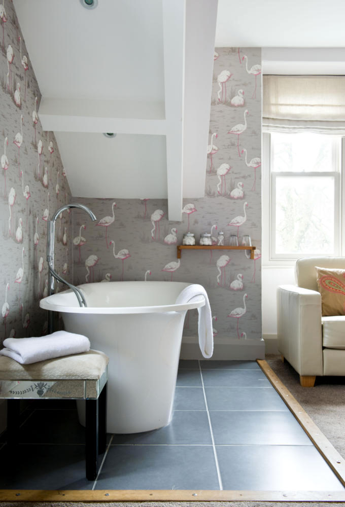 Flamingo Background Wallpaper In The Bathroom 5520 on art deco interior design