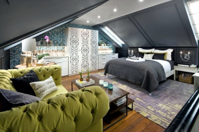 large attic bedroom ideas - Design rooms with pitched roof to feel good