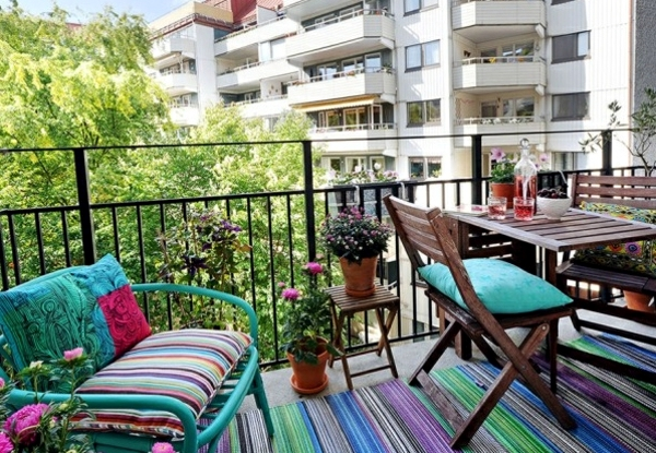 Design Small Balcony Ideas With Colorful Furniture And