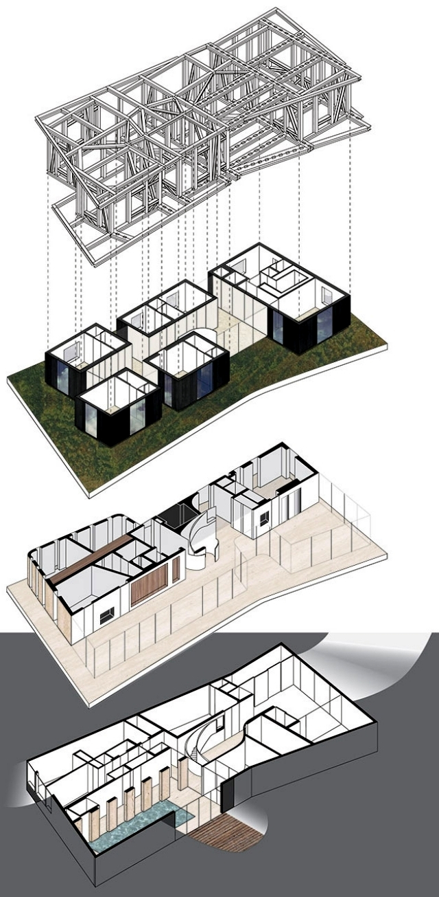 Modern house flat roof with a surprisingly simple interior