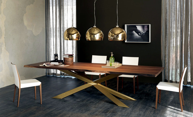 Modern Dining Table Design by Cattelan Italia - steel base and hardwood