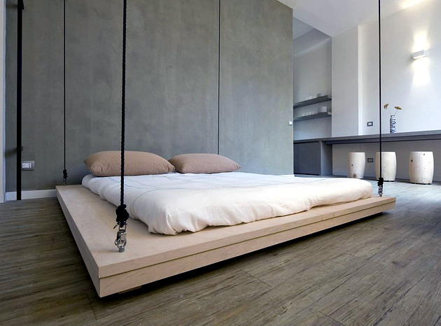 Bed hanging from the ceiling and save the day