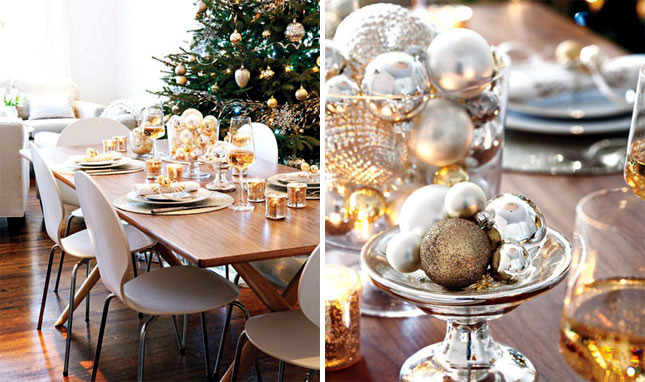 christmas table in gold and silver 22 ideas glamor. Black Bedroom Furniture Sets. Home Design Ideas