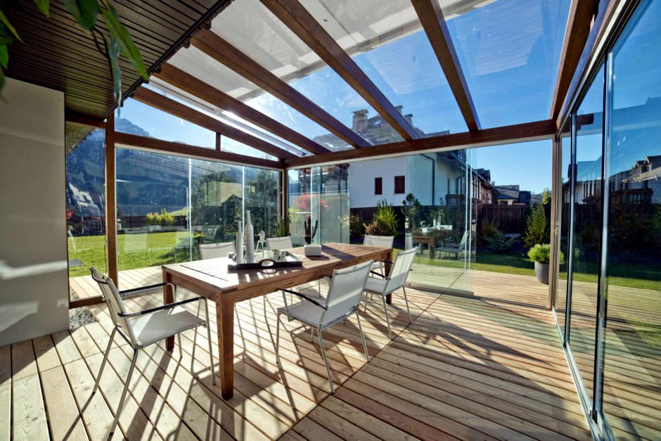Glass Veranda And Wooden Beams