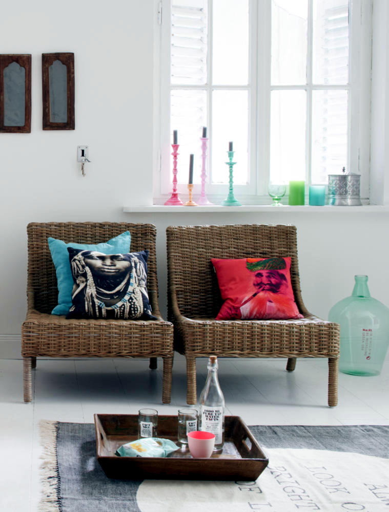 light colored wicker chairs with cushion interior design