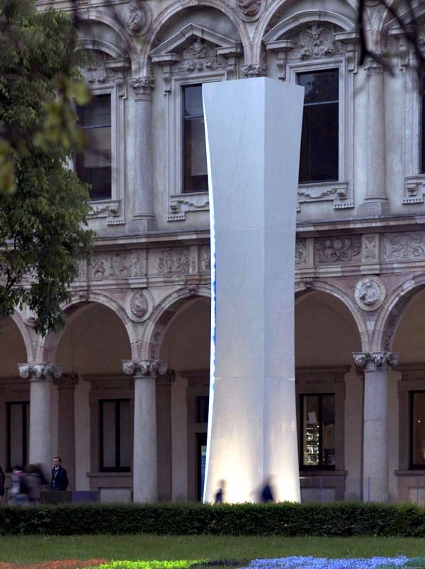 Installation of modern art with light effects in Milano