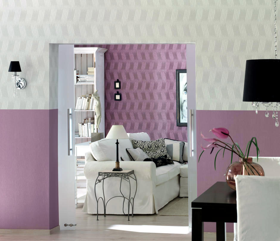 Two Colors Wall Design In Pink And White Interior