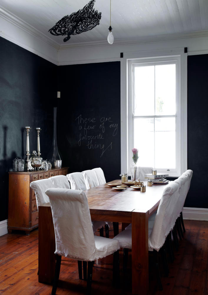 chalkboard paint to the entire wall interior design. Black Bedroom Furniture Sets. Home Design Ideas