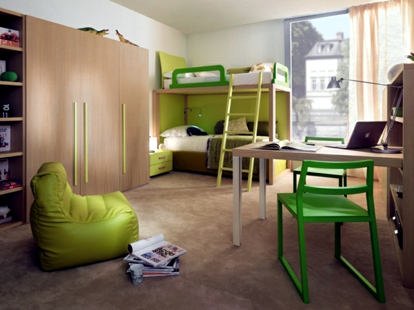 Loft bed in the nursery - and against bulky furniture