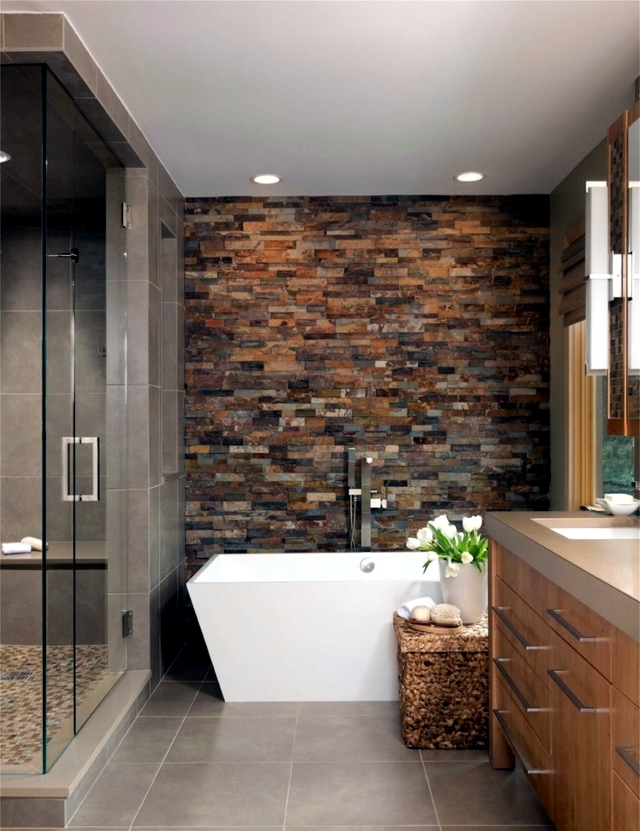 20 design ideas for bathroom with stone tiles by for Granite and tile bathroom ideas