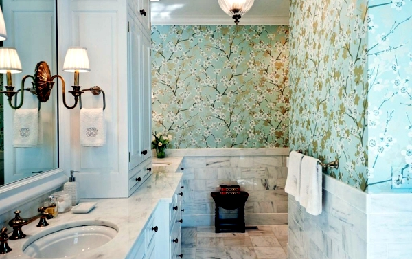 Hand-woven wallpaper with printed paper flowers radiate classic elegance