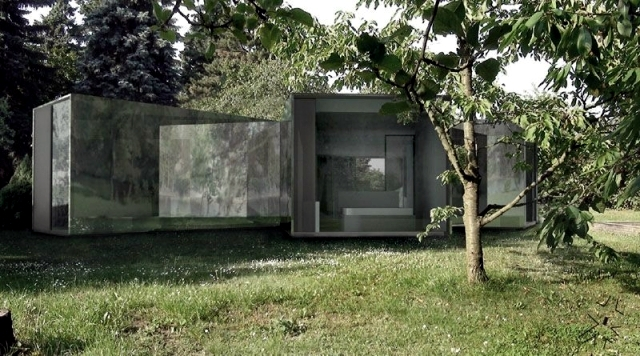 Modern family house in Prague with an unusual plant