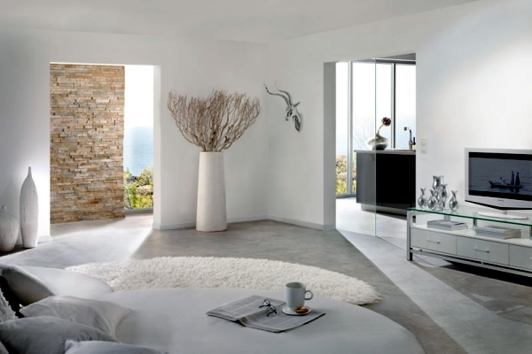 Pure white minimalist living room – 20 modern design ideas
