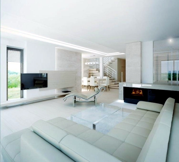 Living Room Lighting 20 Powerful Ideas To Improve Your: Pure White Minimalist Living Room