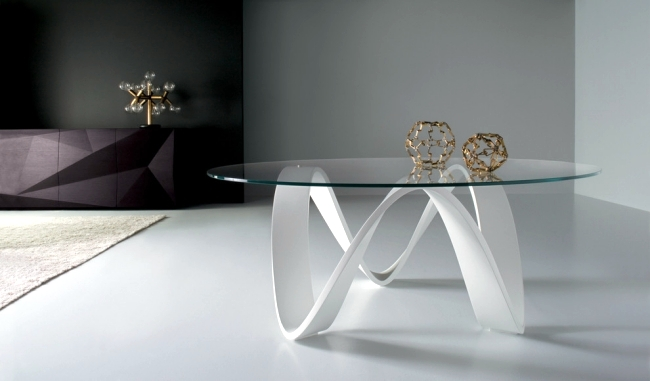 Living Room. A Glass Coffee Table ...