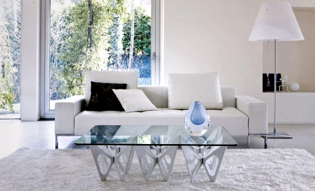 design ideas coffee table for modern living room – white glass