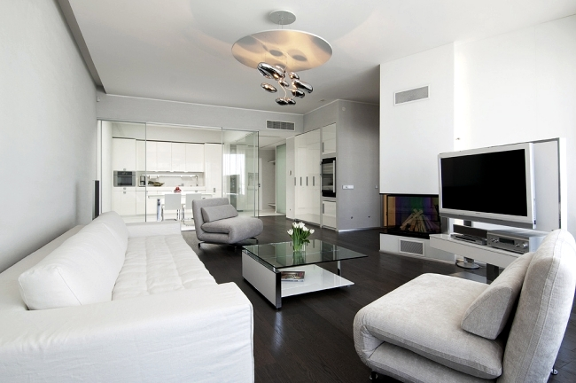 Design Ideas coffee table for modern living room - white glass