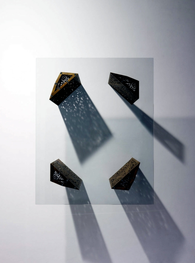 Fascinated Glass table and with an architectural metal coating