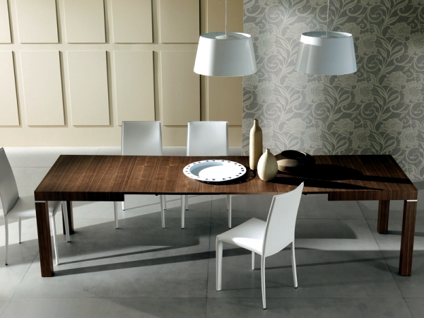 Contemporary Dining Table Made Of Wood Glass And Metal