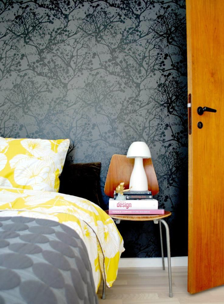 Design Bedroom with black wallpaper | Interior Design Ideas ...