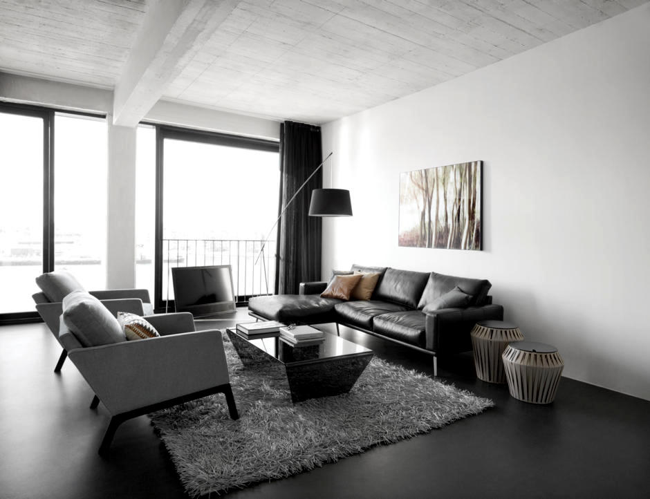 living room design in black and gray interior design
