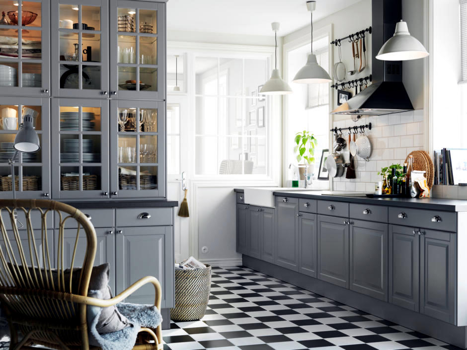 Grey Mounted In A Country Style Kitchen