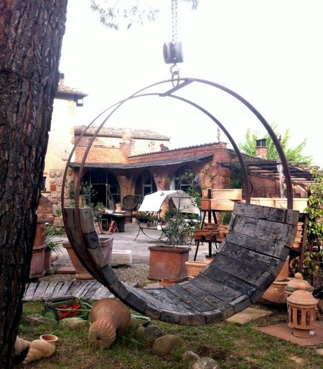 Build your own furniture - old beer keg is the rustic rocking chair