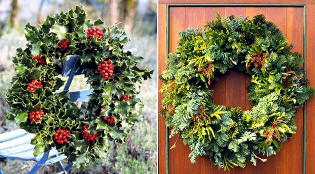 Make a Christmas wreath and decorate with natural materials