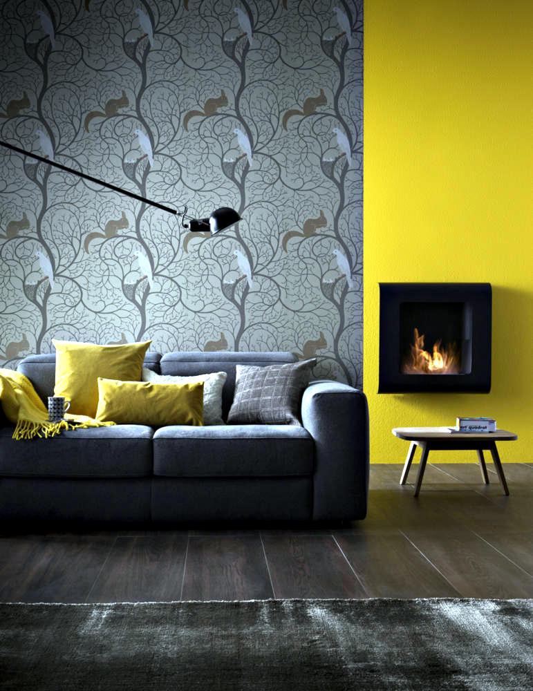 Small fireplace wall before mustard yellow wall interior - Living room yellow wall ...