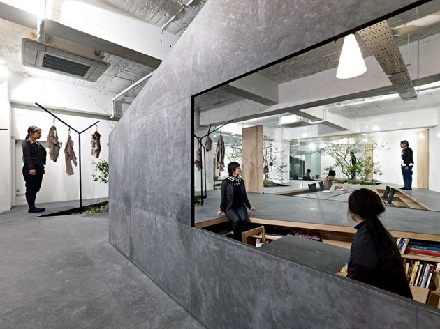 Office furniture and exhibition space in a minimalist style