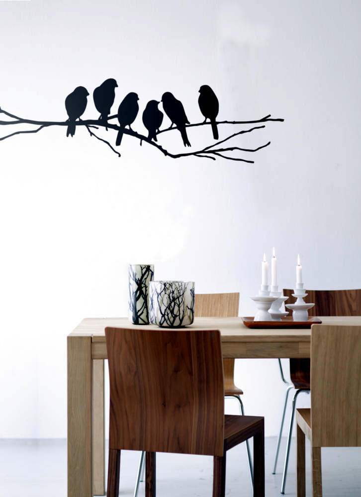 Wall sticker bird in the dining room interior design - Wall sticker ideas for living room ...