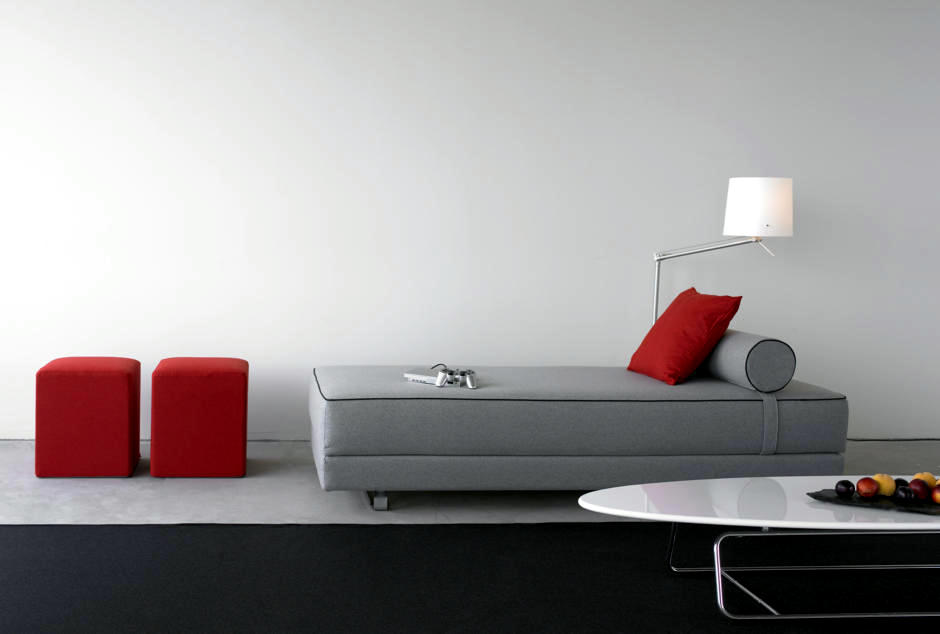 Gray Sofa Red With Decorative Elements