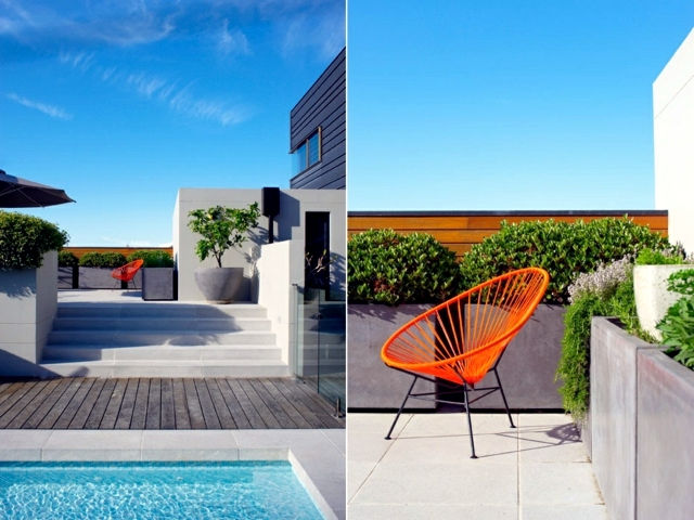 The pool and terracing in the garden and enjoy a sunny oasis