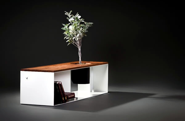 Designer Teak and Aluminum Bench with integrated planter