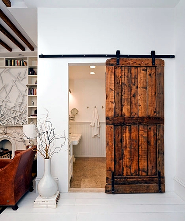 Wooden Sliding Door Give The Interior A Rustic Touch Interior