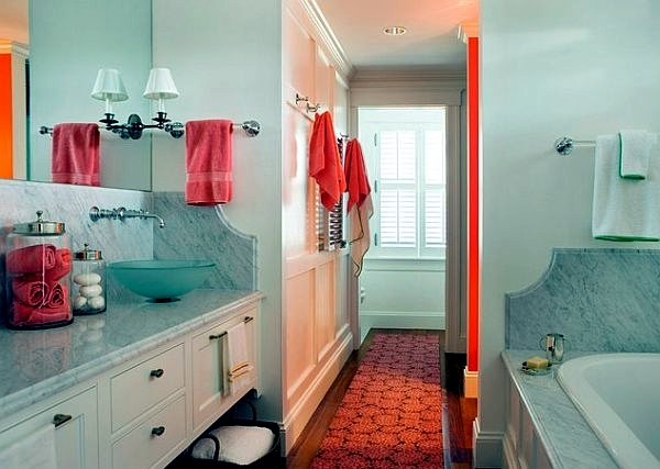 Regards orange bathroom design and increase the comfort factor