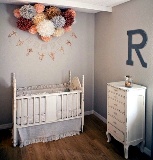 Interior Design Elegant Pink White Gray Baby Girl Room: Set Inside The Baby's Room In Shades Of Gray And Soft