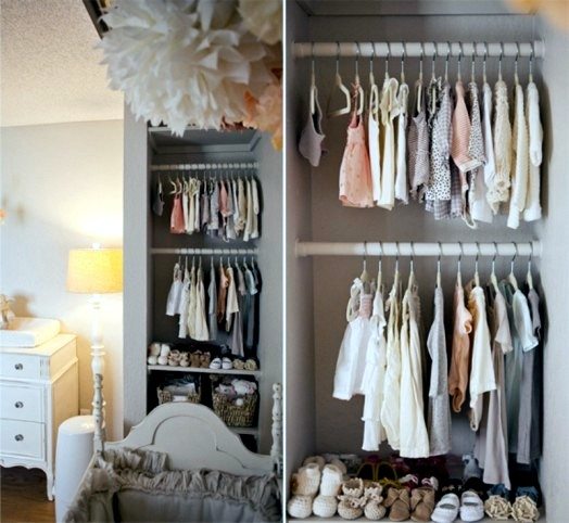 Set inside the baby's room in shades of gray and soft fishing