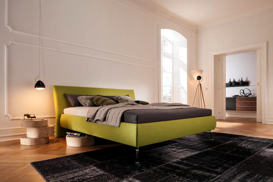 green upholstered bed 2