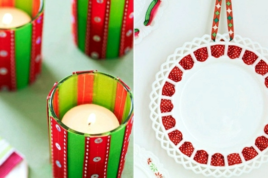 Merry Christmas decoration - craft ideas with ribbon