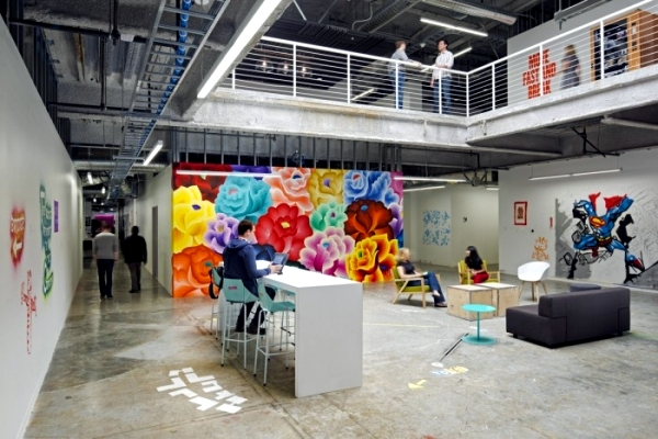 Headquarters of the modern world-renowned company with a cool design office