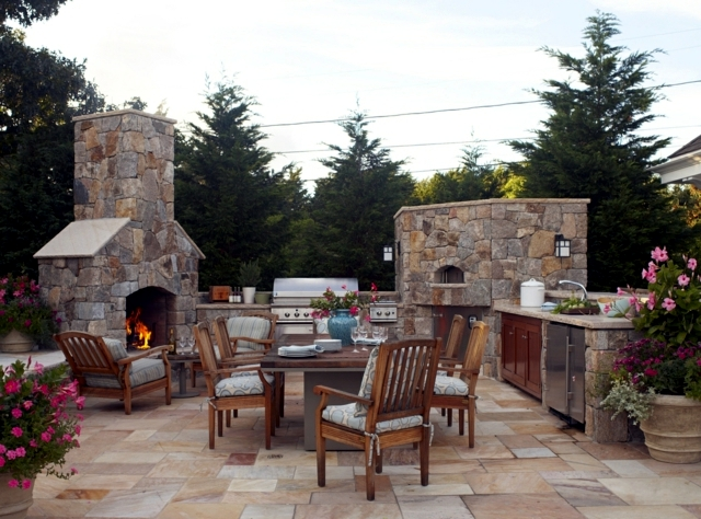 Outdoor Furniture Corner Seating Stone barbecue fireplace – the highlight in the garden ...