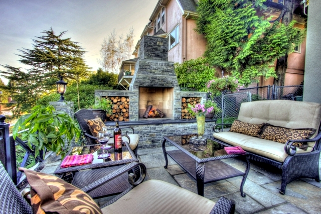 Stone barbecue fireplace the highlight in the garden