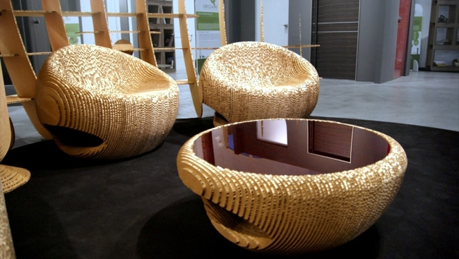Furniture recycling cardboard design for nature interior for Recycling furniture decorating ideas