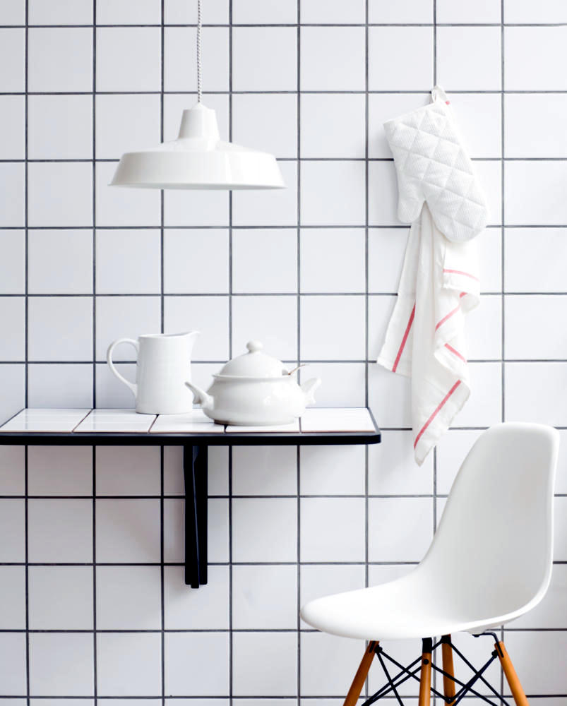 Kitchen Tiles Square: Square, White Tiles On The Wall And Table