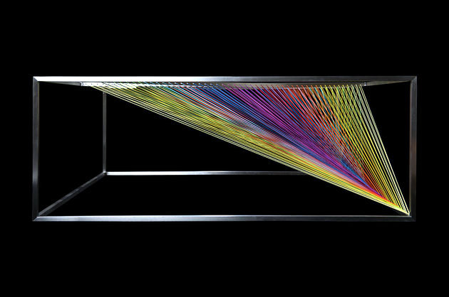 Design glass coffee table - as a prism that refracts light