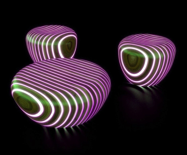 Futuristic Wooden furniture with integrated LED lighting ...